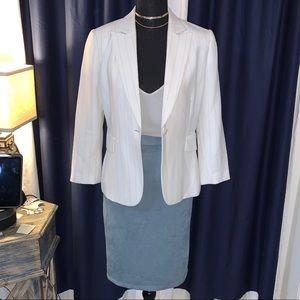 Lulu's Blue Suede Pencil Skirt - Size: Medium
